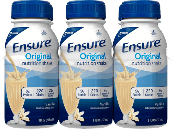 $1.00 for Ensure® Original Nutrition Shakes (expiring on Thursday, 08/02/2018). Offer available at Walmart.