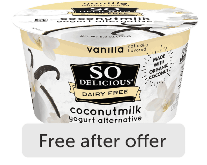 $1.99 for So Delicious Dairy Free Coconutmilk or Oatmilk Yogurt Alternative (expiring on Saturday, 10/31/2020). Offer available at Whole Foods Market®.