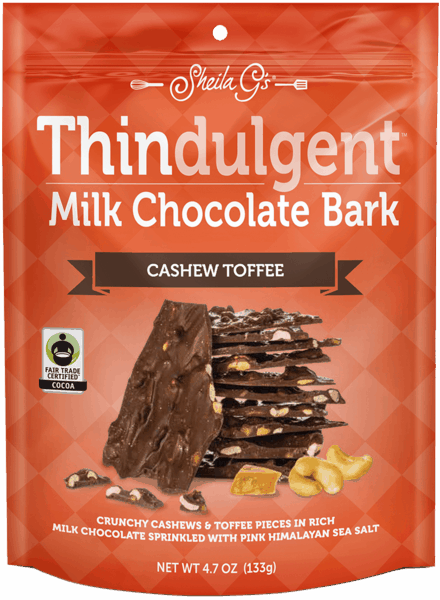 $1.00 for Thindulgent™ Milk Chocolate Bark Cashew Toffee (expiring on Monday, 04/02/2018). Offer available at multiple stores.