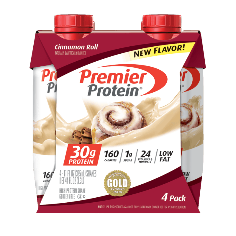 $1.50 for Premier Protein Cinnamon Roll Shakes. Offer available at multiple stores.
