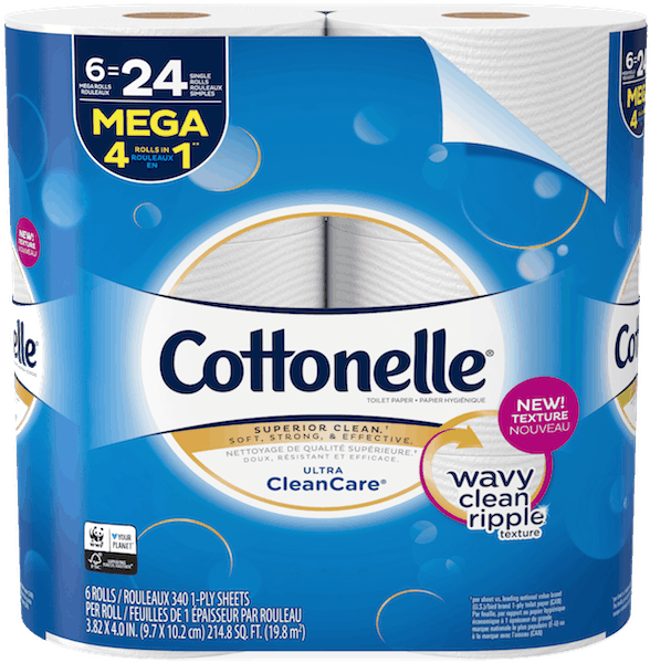$0.50 for Cottonelle® Toilet Paper (expiring on Friday, 08/31/2018). Offer available at multiple stores.