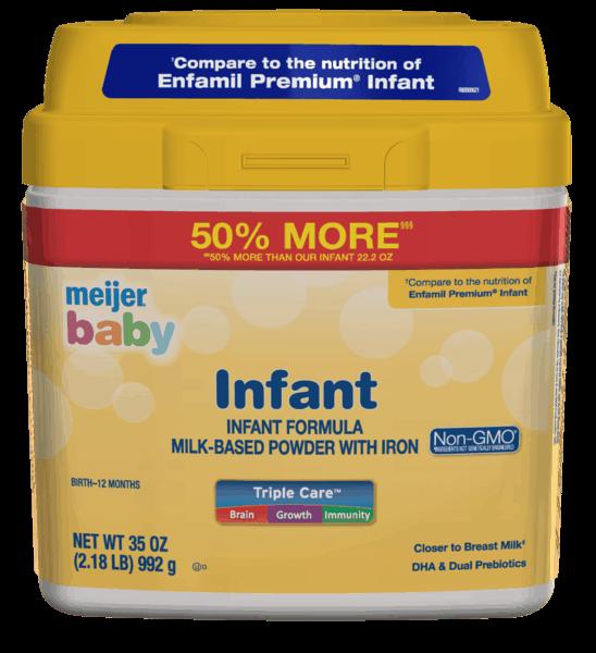$3.00 for Meijer® Baby Infant Formula (expiring on Thursday, 05/02/2019). Offer available at Meijer.