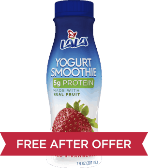 $0.88 for LALA® Yogurt Smoothies (expiring on Monday, 12/31/2018). Offer available at Walmart.