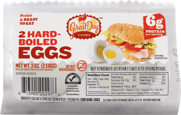 $0.50 for Great Day Farms™ Hardboiled Eggs (expiring on Saturday, 06/02/2018). Offer available at Walmart.