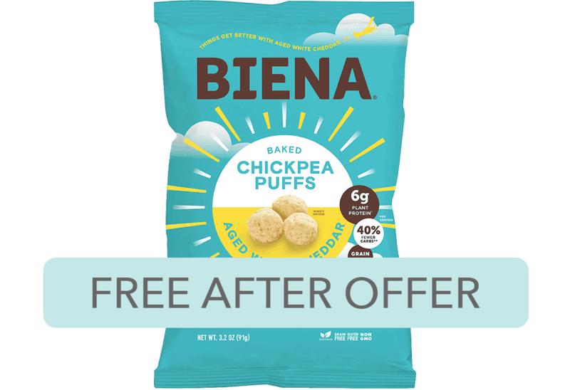 $3.99 for Biena® Chickpea Puffs. Offer available at multiple stores.