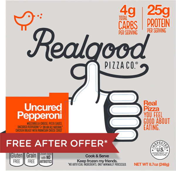 $5.50 for Real Good Foods® Low Carb Pizza (expiring on Friday, 06/22/2018). Offer available at Walmart.
