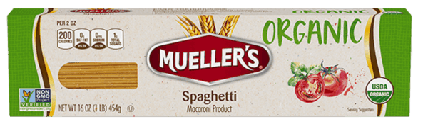 $0.35 for Mueller's® Organic Pasta (expiring on Tuesday, 01/01/2019). Offer available at Food Lion.