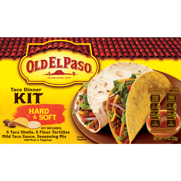 $0.50 for Old El Paso™ Taco Dinner Kit (expiring on Friday, 03/02/2018). Offer available at Walmart.