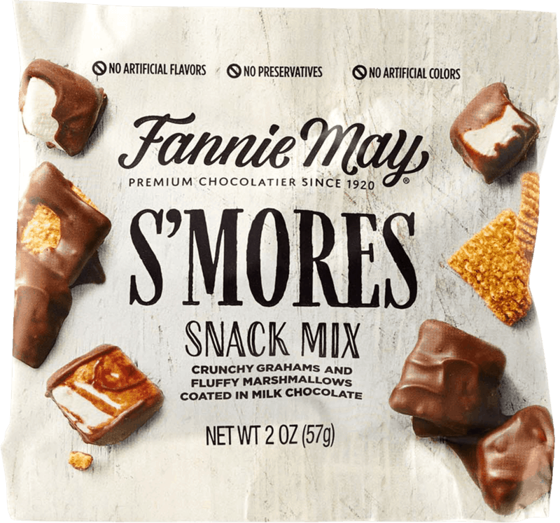 $0.35 for Fannie May S'MORES Snack Mix (expiring on Monday, 05/31/2021). Offer available at Walmart, Walmart Pickup & Delivery.