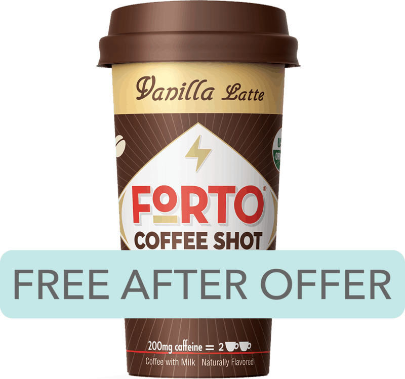 $2.49 for Forto® Coffee Shots (expiring on Saturday, 05/02/2020). Offer available at Kroger.