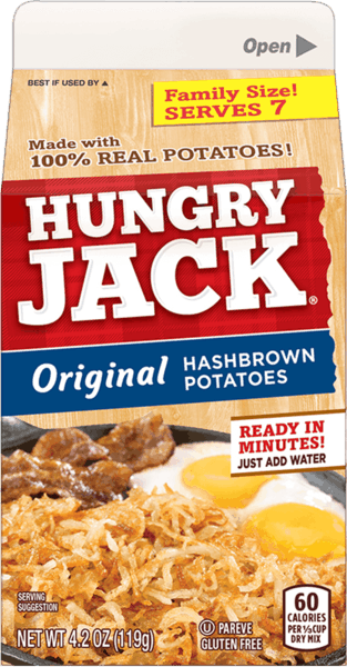$0.50 for Hungry Jack® Hashbrown Potatoes (expiring on Sunday, 09/02/2018). Offer available at multiple stores.