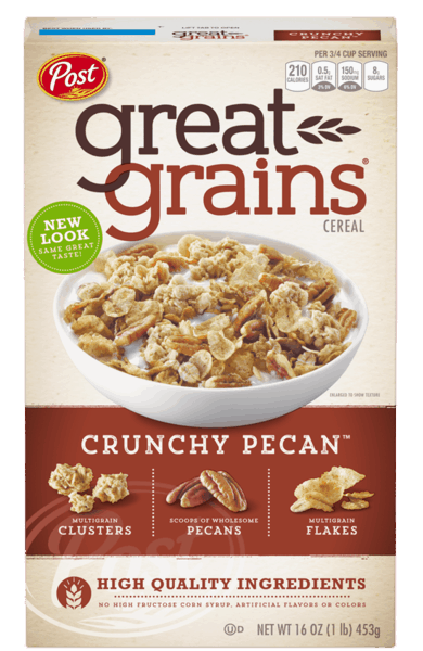 $0.75 for Great Grains® Crunchy Pecan Cereal (expiring on Tuesday, 03/28/2017). Offer available at WinCo Foods.
