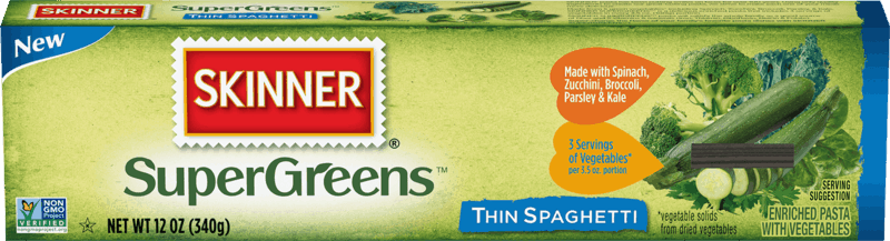 $1.00 for Skinner SuperGreens or Gluten Free Pasta. Offer available at H-E-B.