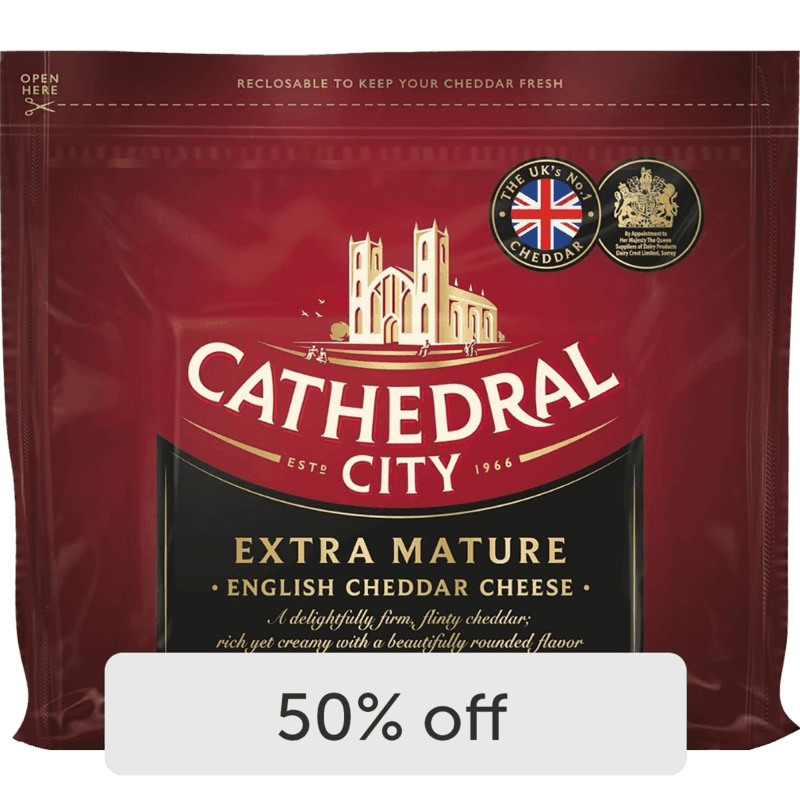 $2.50 for Cathedral City Cheddar Cheese (expiring on Monday, 01/31/2022). Offer available at Jewel-Osco.