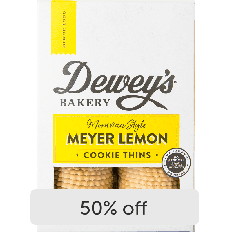 $2.00 for Dewey's Bakery Cookie Thins and Soft Baked Cookies (expiring on Monday, 09/06/2021). Offer available at multiple stores.