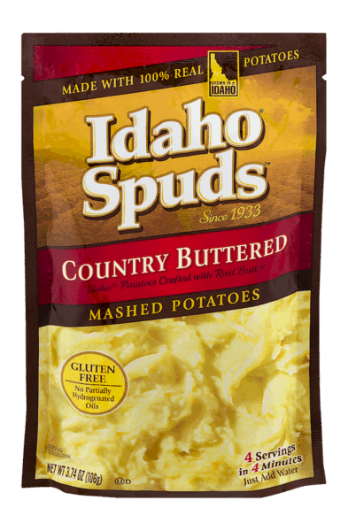 $0.25 for Idaho® Spuds™ Flavored Mashed Potatoes (expiring on Sunday, 09/02/2018). Offer available at multiple stores.