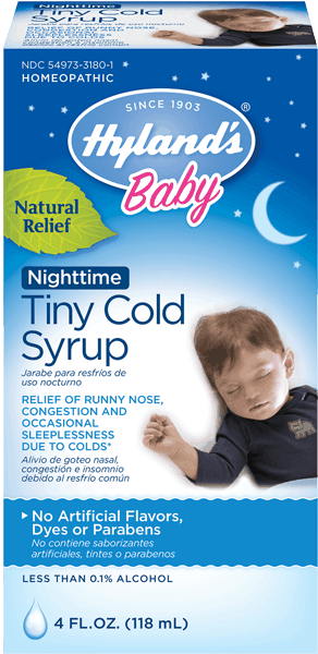 $1.00 for Hyland's® Baby Nighttime Tiny Cold Syrup. Offer available at multiple stores.