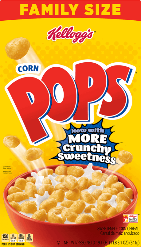 $0.50 for Kellogg's Corn Pops Cereal (expiring on Saturday, 11/14/2020). Offer available at Walmart, Walmart Pickup & Delivery.