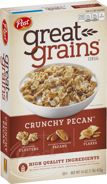 $0.15 for Post® Great Grains® Crunchy Pecan™ Cereal (expiring on Saturday, 08/10/2019). Offer available at Publix.