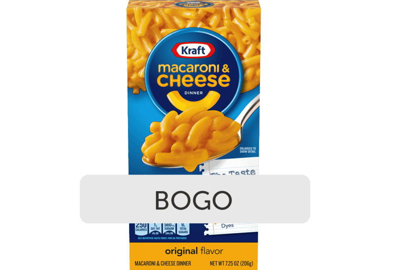 $0.98 for Kraft Macaroni & Cheese (expiring on Wednesday, 10/21/2020). Offer available at Walmart, Walmart Grocery.