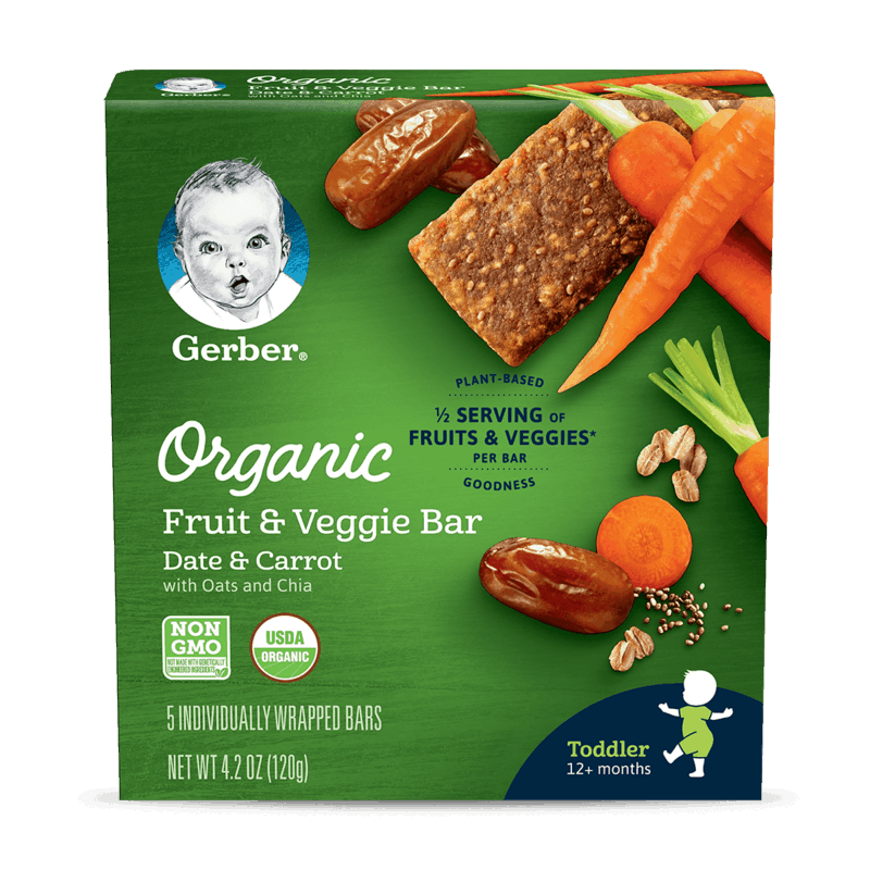 $1.00 for Gerber® Organic Fruit & Veggie Bar (expiring on Sunday, 02/02/2020). Offer available at Walmart.