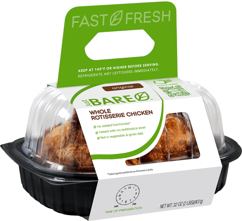 $1.00 for Just BARE® Whole Rotisserie Chicken (expiring on Monday, 03/02/2020). Offer available at multiple stores.