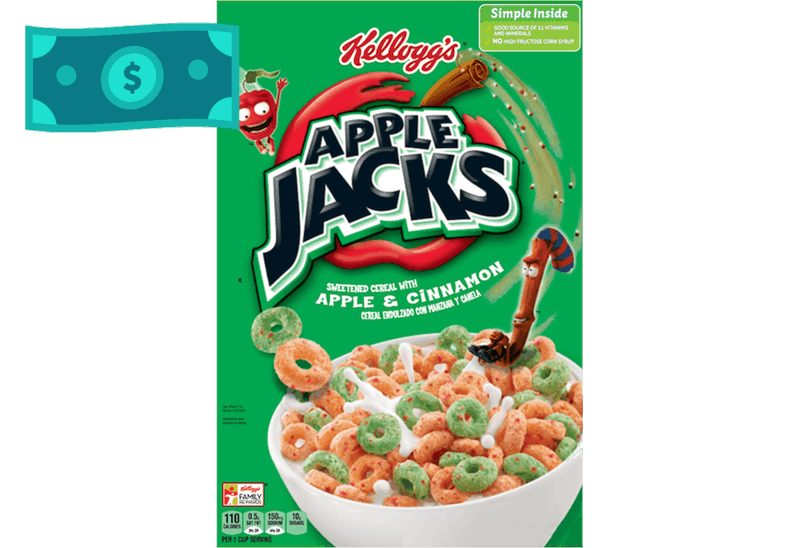 $0.75 for Kellogg's Apple Jacks Cereal. Offer available at multiple stores.