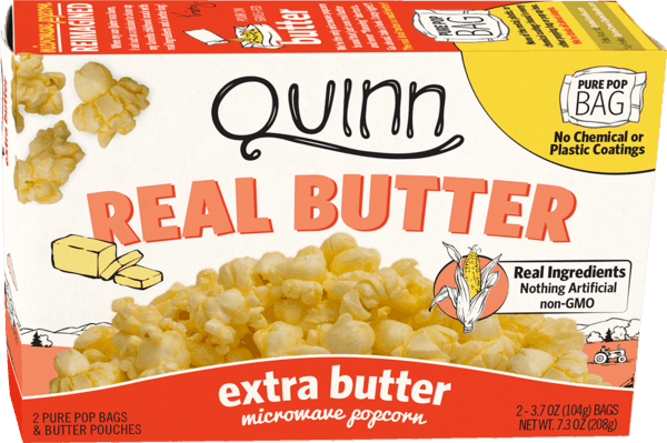 $0.50 for Quinn Microwave Popcorn - Real Butter Tastes Better (expiring on Wednesday, 02/28/2018). Offer available at Publix, H-E-B.