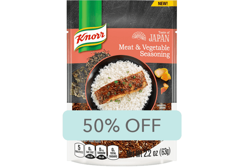 $1.50 for Knorr Taste of Japan Meat & Vegetable Seasoning (expiring on Sunday, 04/26/2020). Offer available at Walmart.