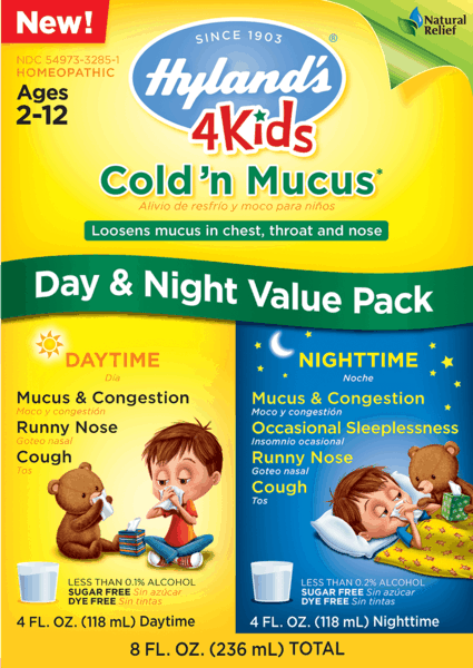 $1.00 for Hyland's® 4 Kids Cold 'n Mucus Day & Night Value Pack (expiring on Thursday, 02/28/2019). Offer available at Target, Walmart, Walgreens.