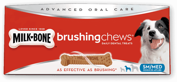 $1.00 for Milk-Bone® Brushing Chews® Daily Dental Treats (expiring on Sunday, 07/29/2018). Offer available at multiple stores.