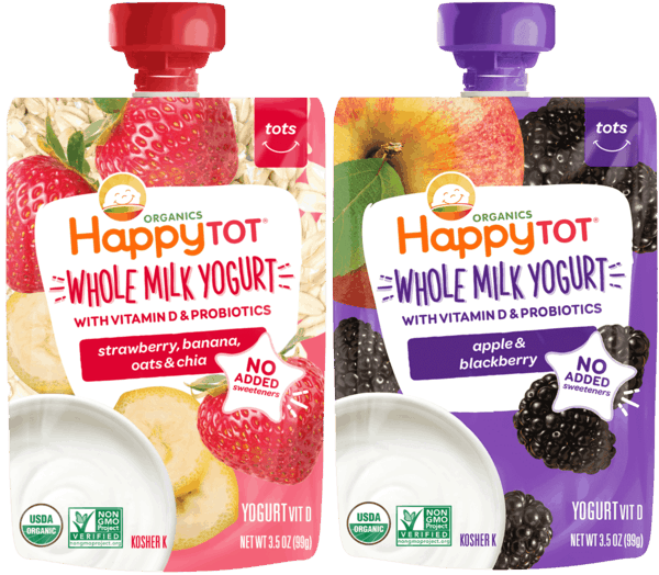 $1.00 for Happy Tot® Yogurt Pouches (expiring on Tuesday, 04/02/2019). Offer available at Walmart.