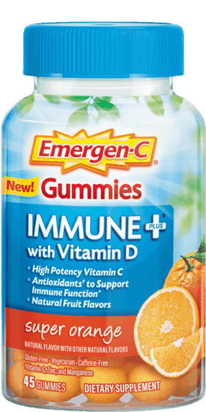$2.00 for Emergen-C® Immune+ Gummies Super Orange. Offer available at Walmart.