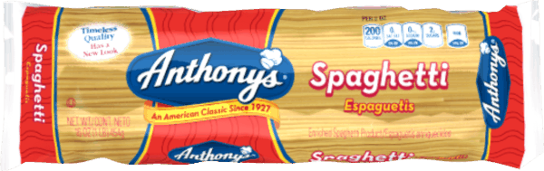 $0.35 for Anthony's® Pasta (expiring on Sunday, 09/02/2018). Offer available at multiple stores.