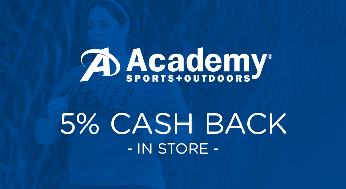 $0.00 for Academy Sports (expiring on Tuesday, 12/31/2019). Offer available at Academy Sports + Outdoors.