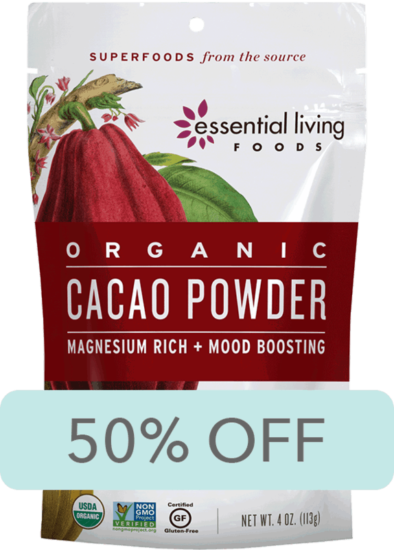 $2.00 for Essential Living Foods Cacao Powder (expiring on Saturday, 10/31/2020). Offer available at H-E-B.