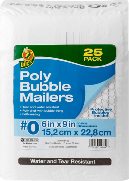 $1.25 for Duck® Brand #0 Poly Bubble Mailer Envelopes (expiring on Thursday, 03/01/2018). Offer available at Sam's Club.