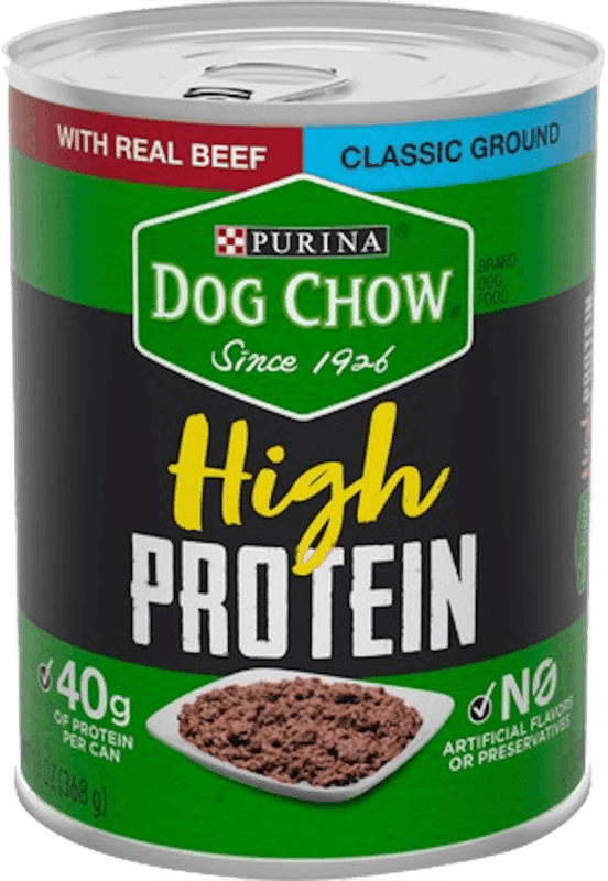 $1.00 for Purina® Dog Chow® High Protein Wet Dog Food (expiring on Sunday, 02/02/2020). Offer available at multiple stores.