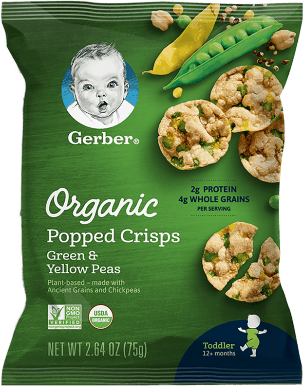 $0.75 for Gerber® Organic Popped Crisps (expiring on Sunday, 02/02/2020). Offer available at Walmart.
