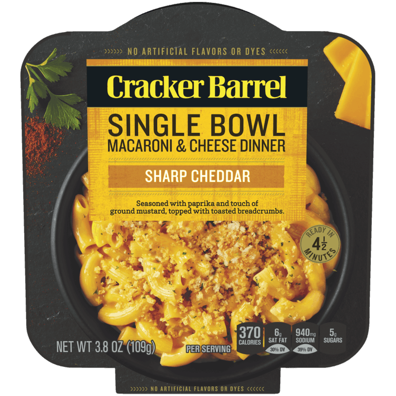 $0.50 for Cracker Barrel Single Bowl Macaroni & Cheese Dinner. Offer available at Walmart.