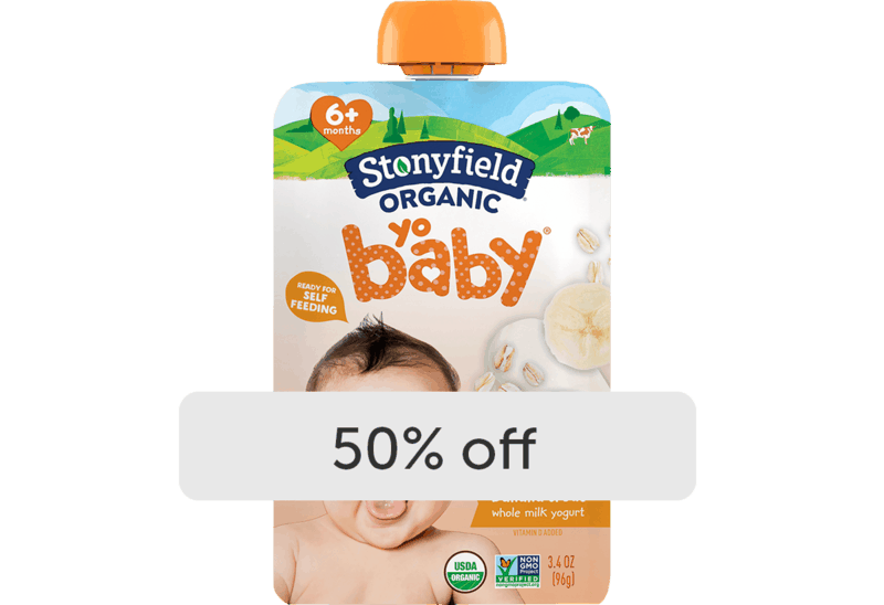 $0.99 for Stonyfield® Organic YoBaby® Yogurt Pouch (expiring on Wednesday, 12/02/2020). Offer available at Meijer, Whole Foods Market®.
