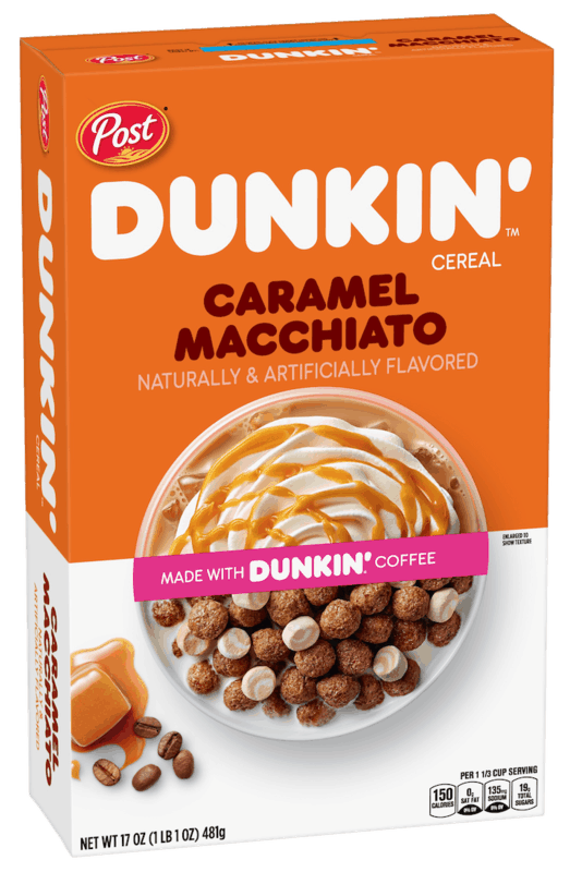 $1.00 for Post Dunkin' Caramel Macchiato Cereal (expiring on Tuesday, 10/19/2021). Offer available at multiple stores.