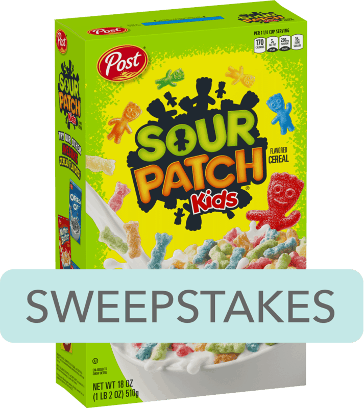 $0.25 for Post® SOUR PATCH KIDS® Flavored Cereal (expiring on Saturday, 02/08/2020). Offer available at Walmart.