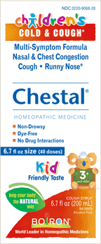 $2.00 for Boiron® Children's Chestal® Cold & Cough Syrup (expiring on Wednesday, 08/01/2018). Offer available at Publix, Hannaford, Raley's.
