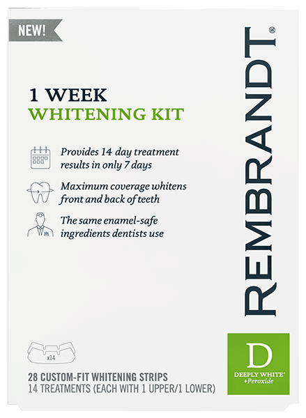 $4.00 for REMBRANDT® 1 Week Whitening Kit. Offer available at Walmart.