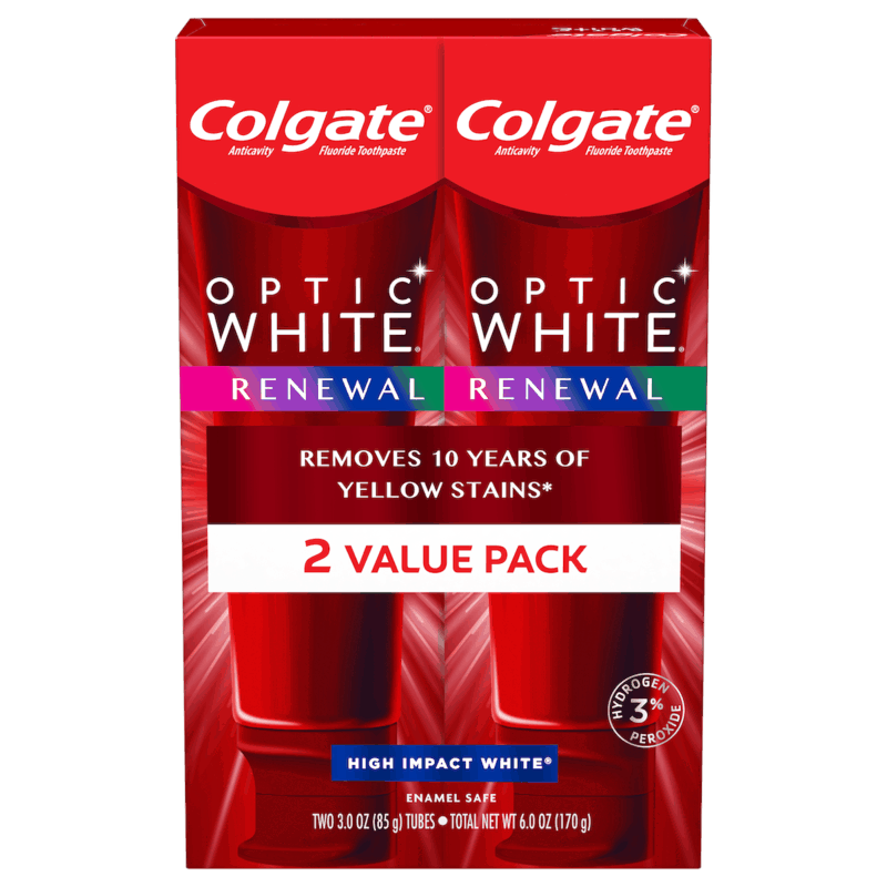 $2.50 for Colgate® Optic White Renewal Toothpaste (expiring on Sunday, 12/20/2020). Offer available at Walmart, Walmart Grocery.