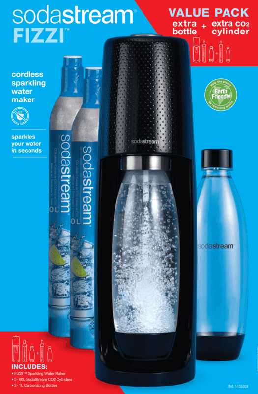 $15.00 for SodaStream Fizzi Sparkling Water Maker Value Pack, with extra Co2 Cylinder and extra Carbonating Bottle. Offer available at Costco.