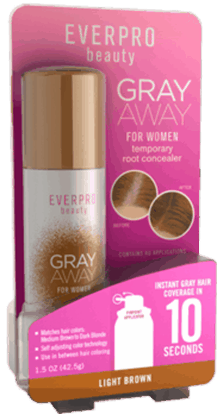 $2.00 for EVERPRO GRAY AWAY Temporary Root Concealer Spray (expiring on Thursday, 06/25/2020). Offer available at Walgreens, CVS Pharmacy.