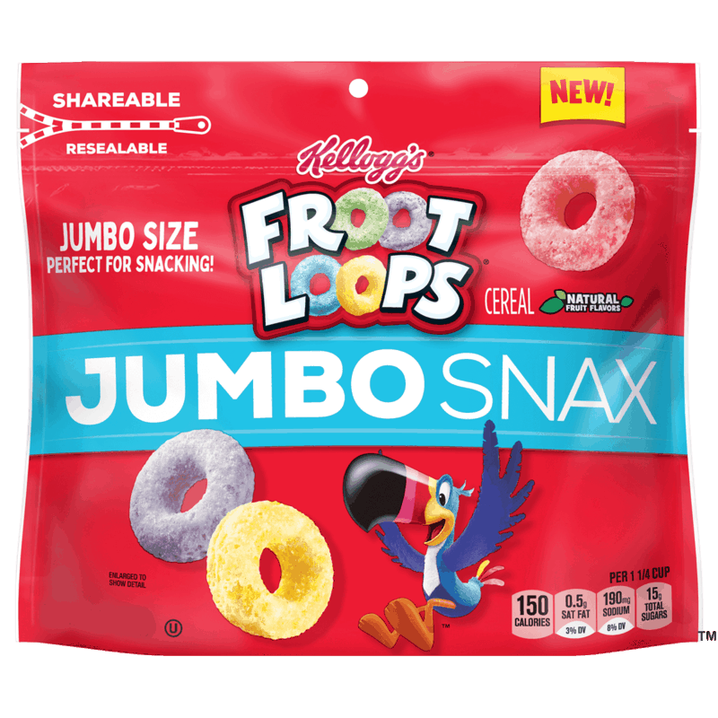 $2.00 for Kellogg's Froot Loops Jumbo Snax. Offer available at Walmart, Walmart Pickup & Delivery.