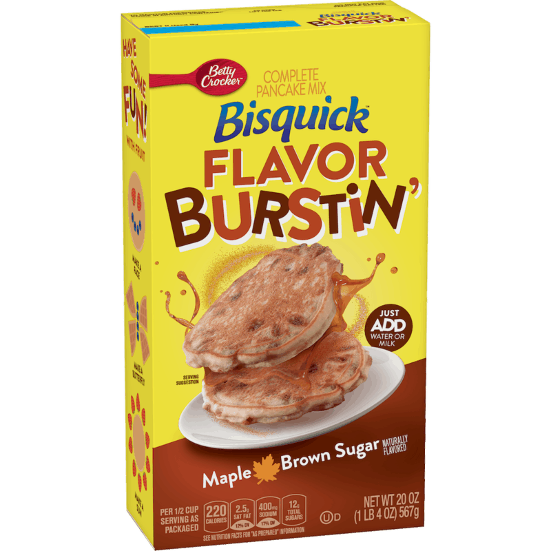 $1.00 for Bisquick Flavor Burstin' Maple Brown Sugar Pancake Mix (expiring on Friday, 12/04/2020). Offer available at Walmart, Walmart Grocery.